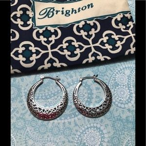 New Brighton silver scroll hoop earrings